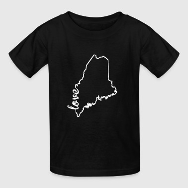 Maine Love State Outline - Kids' T-Shirt