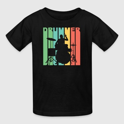 Vintage Style Drummer Silhouette Retro Music - Kids' T-Shirt