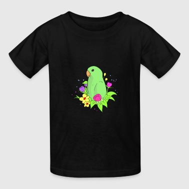 Cute dwarf parrot with colorful flowers. - Kids' T-Shirt