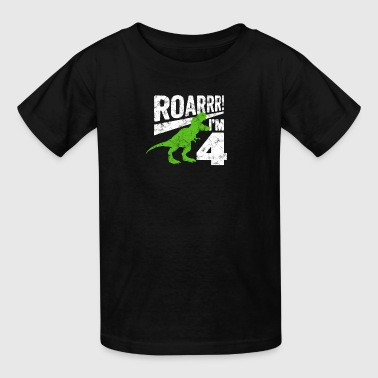 Cute 4th Birthday Boy Dinosaur Dino Kid Age 4 Year - Kids' T-Shirt