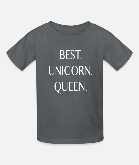 Unicorn T-Shirts - Best Unicorn Queen in The World Birthday Gift Love - Kids' T-Shirt charcoal