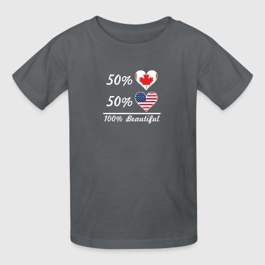 50% Canadian 50% American 100% Beautiful - Kids' T-Shirt
