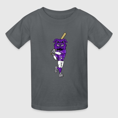 custom bulldog mascot purple baseball - Kids' T-Shirt