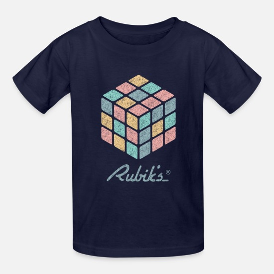 Rubik's Cube T-Shirts - Rubik's Cube Pastell-Colored Print - Kids' T-Shirt navy