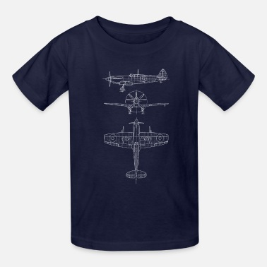 Airplane Spitfire airplane blueprint - Kids' T-Shirt