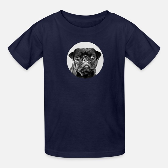 Pug T-Shirts - Black Dog Circle - Kids' T-Shirt navy
