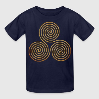 triple spiral one line gold - Kids' T-Shirt