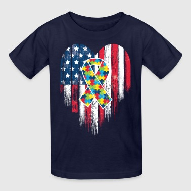 American Flag Heart Autism Awareness - Kids' T-Shirt