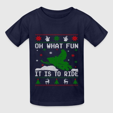 Oh What Fun Snowmobile Ugly Sweater style - Kids' T-Shirt