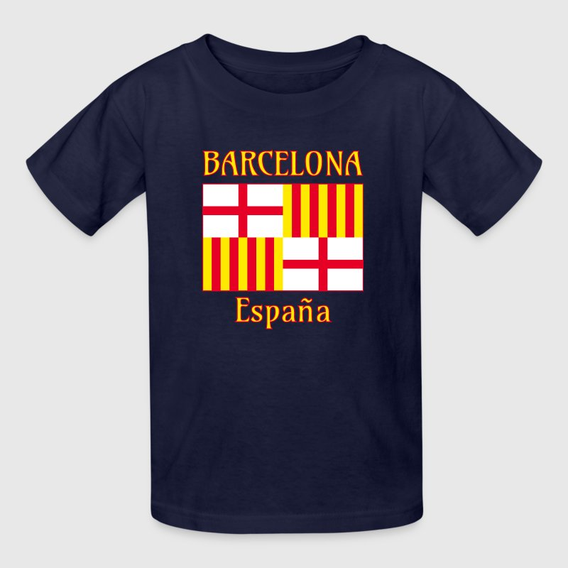 Barcelona flag in red white and yellow - Kids' T-Shirt