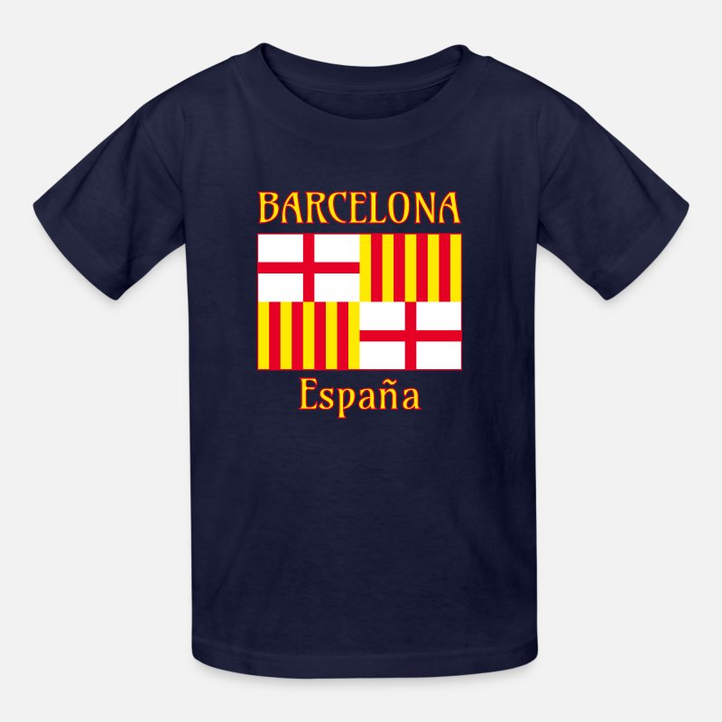 Barcelona T-Shirts - Barcelona flag in red white and yellow - Kids' T-Shirt navy