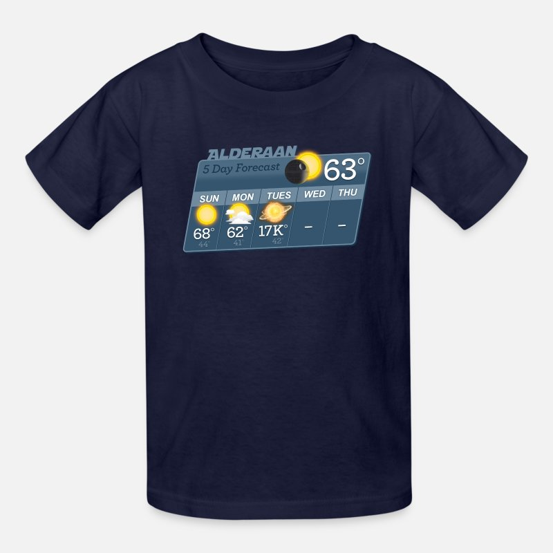 Alderaan T-Shirts - STAR WARS ALDERAAN 5 DAY WEATHER FORECAST - Kids' T-Shirt navy