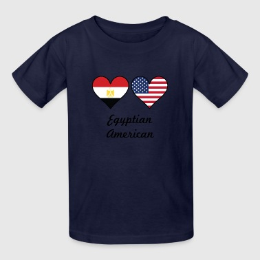 Egyptian American Flag Hearts - Kids' T-Shirt