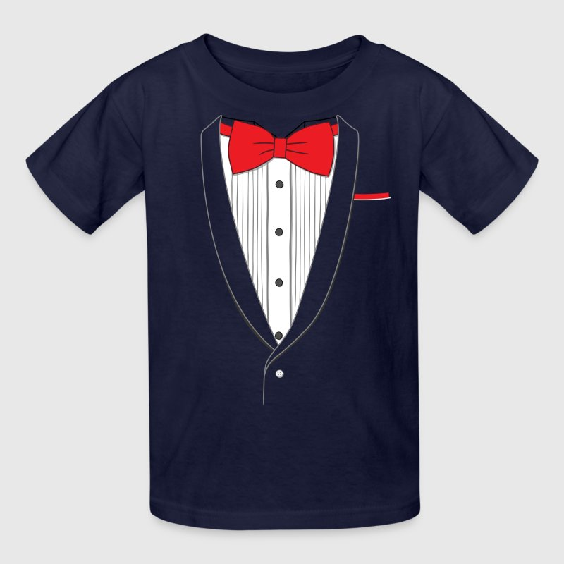 Fake Tuxedo Red Tie - Kids' T-Shirt