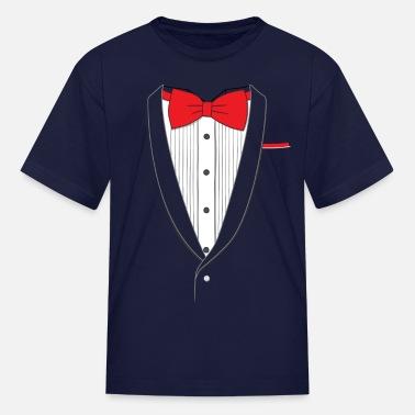 7e5b54147bdfa4 Fake And Tie Fake Tuxedo Red Tie - Kids  39  T-Shirt