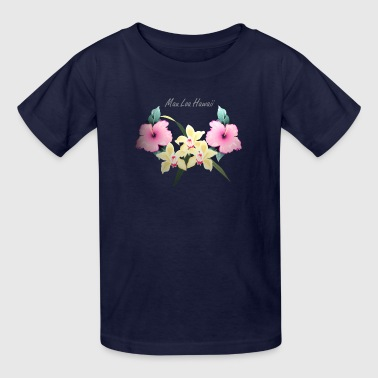 floral hawaiian tiki by patjila2 - Kids' T-Shirt
