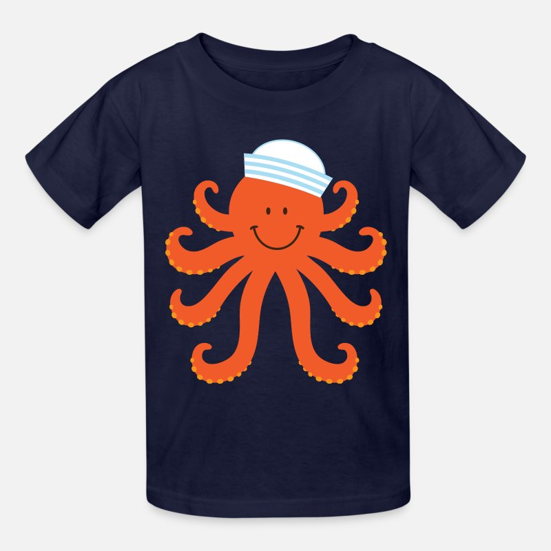Octopus T-Shirts - Octopus Sailor Nautical - Kids' T-Shirt navy