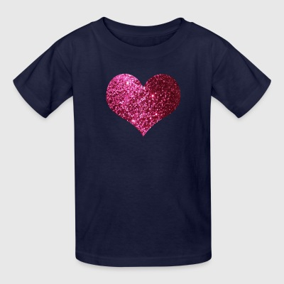 Pink Heart Glitter Design - Kids' T-Shirt