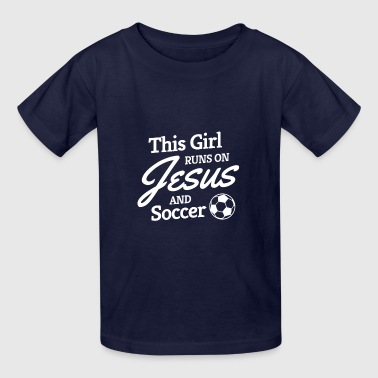 Soccer Shirt, Girls Soccer Gift, Runs on Jesus - Kids' T-Shirt