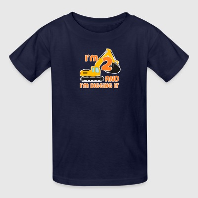 Builder Digger 2nd Birthday Jobsite Boy Kid 2 Year - Kids' T-Shirt