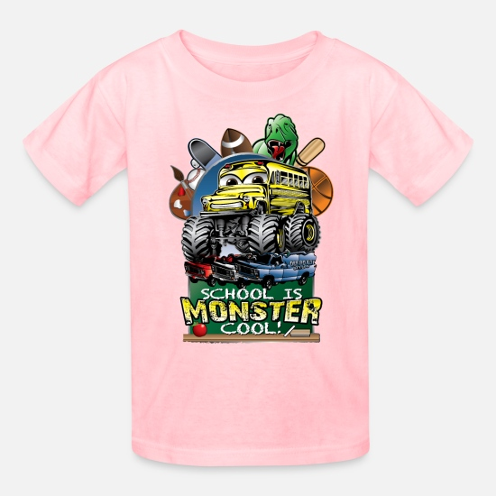 School T-Shirts - Monster School Bus - Kids' T-Shirt pink