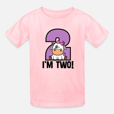 2 Year Old Birthday 2nd Birthday Girl Cow 2 Year Old - Kids' T-Shirt