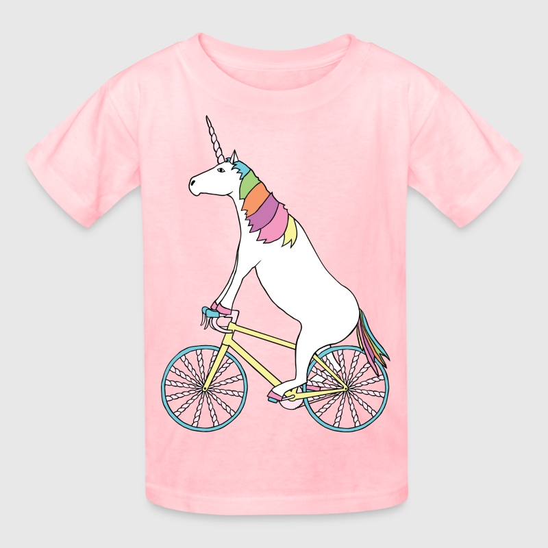 Unicorn Riding Bike With Unicorn Horn Spoked Wheel - Kids' T-Shirt