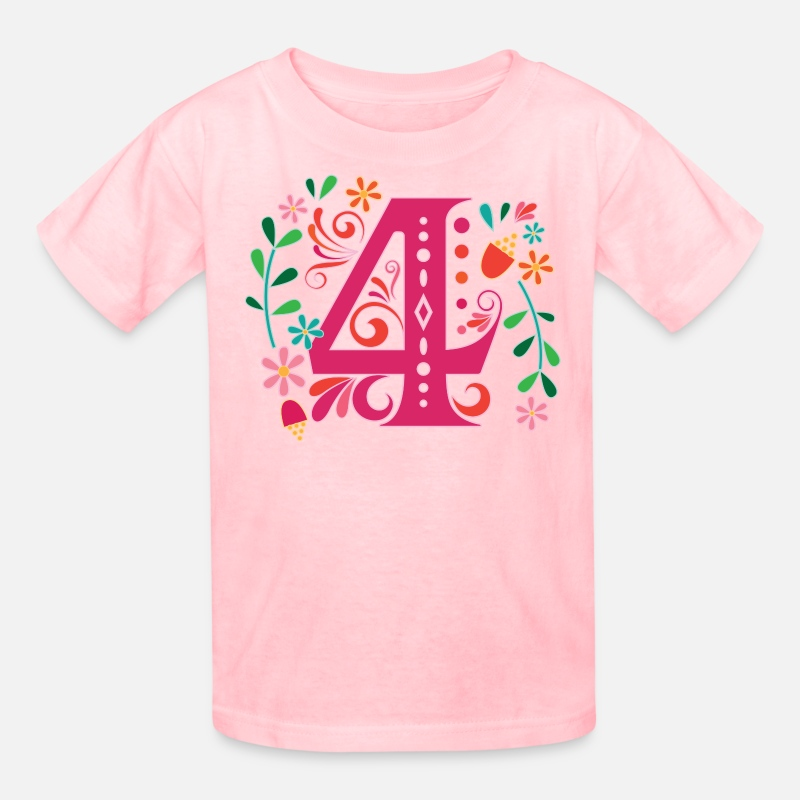 Birthday T-Shirts - 4th Birthday Girls Party Number 4 - Kids' T-Shirt pink