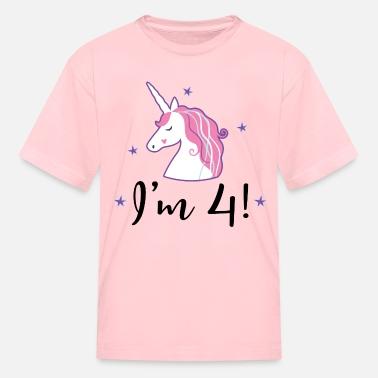 4th Birthday Girls Unicorn Ruffle T Shirt