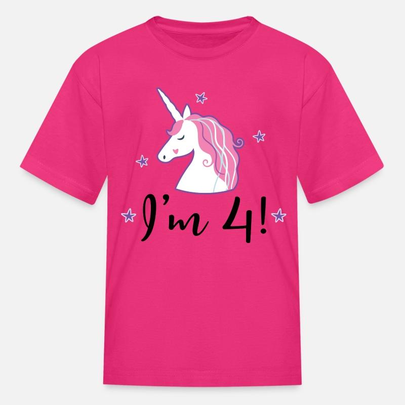 4th Birthday Girls Unicorn Kids T Shirt