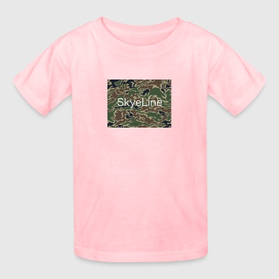 SkyeLine Green Camo and White Box Logo - Kids' T-Shirt