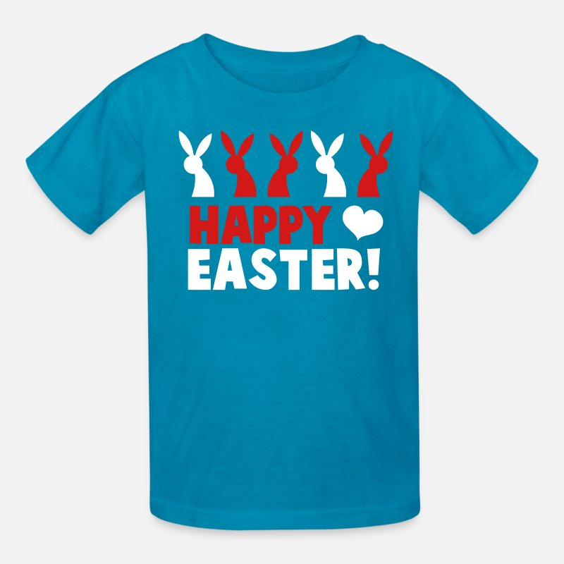 Chocolate T-Shirts - Happy EASTER! with a line of rabbits love heart - Kids' T-Shirt turquoise