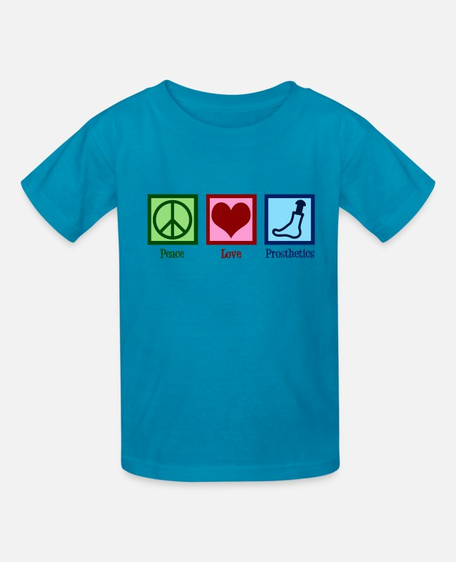 Prostheses T-Shirts - Peace Love Prosthetics - Kids' T-Shirt turquoise