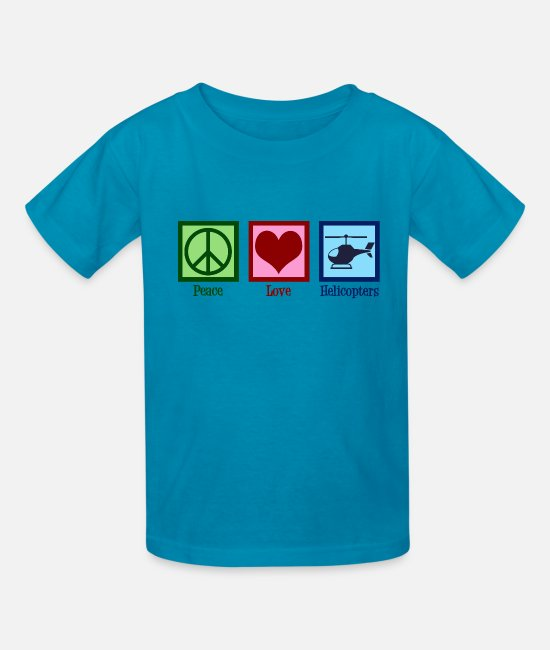 Helicopter T-Shirts - Peace Love Helicopters - Kids' T-Shirt turquoise