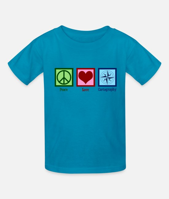 Circular T-Shirts - Peace Love Cartography - Kids' T-Shirt turquoise