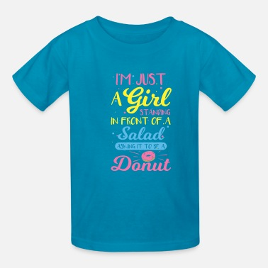 Cute Salad Girl Donut Love Design - Kids' T-Shirt