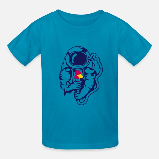 Ice T-Shirts - An astronaut with an ice cream cone - Kids' T-Shirt turquoise