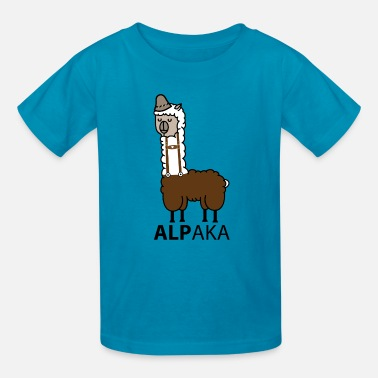 Leather Pants Alpaca with leather pants - Kids' T-Shirt
