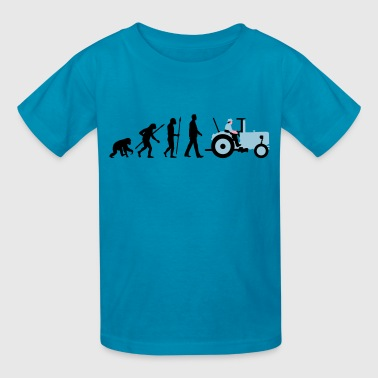 evolution_of_man_farmer_with_tractor_b_3 - Kids' T-Shirt