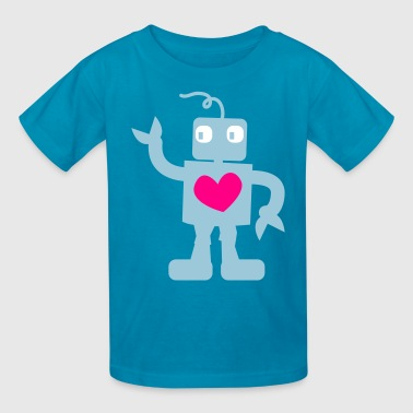 robot cute with love heart - Kids' T-Shirt