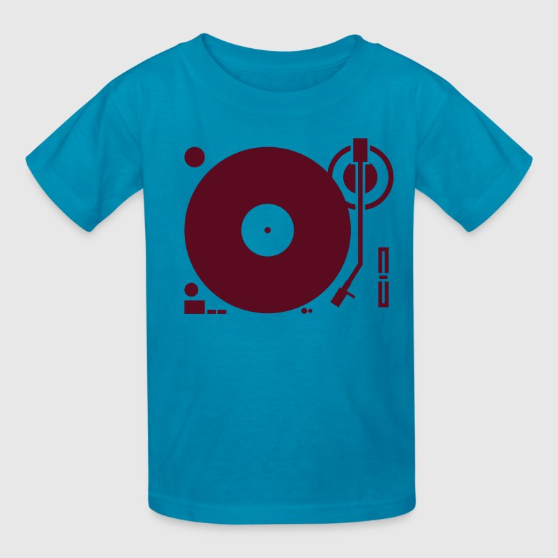 headphones record disc platter disk dj play vinyl spin - Kids' T-Shirt