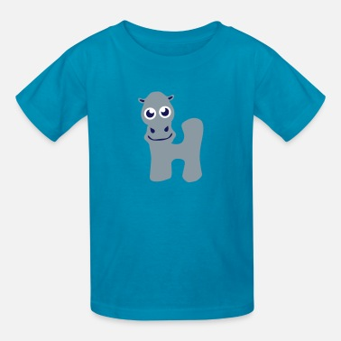 Hippo hippo animal letter h - Kids' T-Shirt