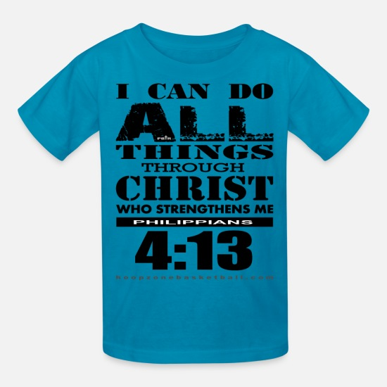 Christian T-Shirts - DoAllThings.png - Kids' T-Shirt turquoise