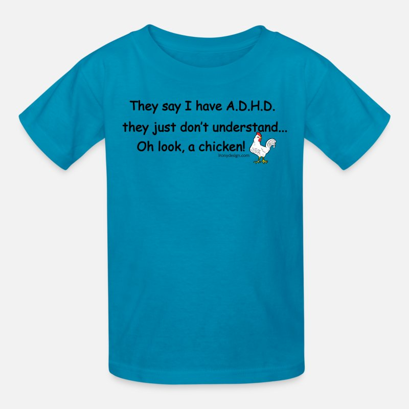 Adhd T-Shirts - ADHD Chicken - Kids' T-Shirt turquoise