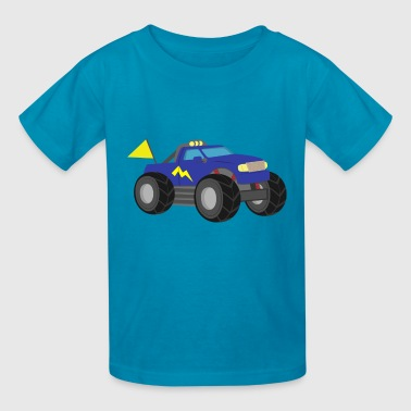 blue race monster truck - Kids' T-Shirt