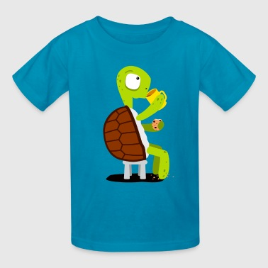 Turtle drinking tea - Kids' T-Shirt
