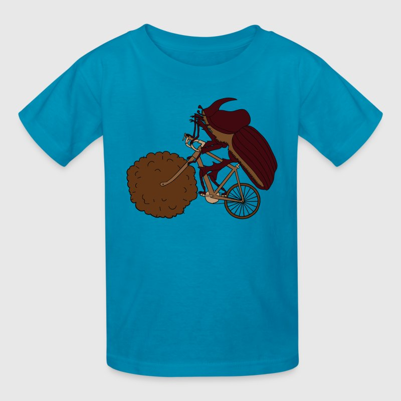 Dung Beetle Riding Bike With Dung Wheel - Kids' T-Shirt