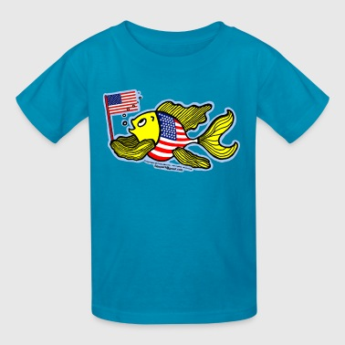 American Flag Fish, By FabSpark - Kids' T-Shirt