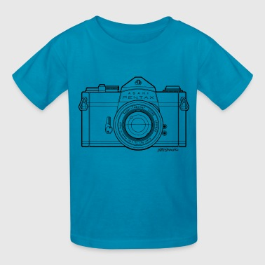 Asahi Pentax Vintage SLR Camera Line Art (Black) - Kids' T-Shirt
