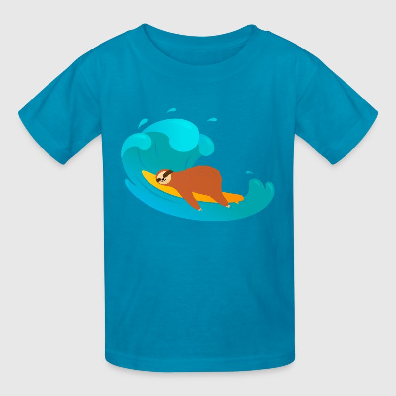 Sloth Sleeping On Surfboard | Big Wave - Kids' T-Shirt